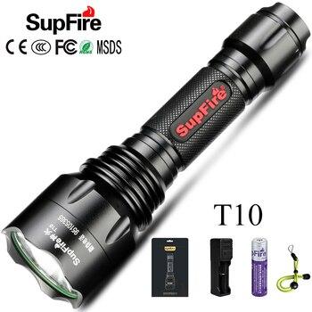 цена на Supfire LED Flashlight Tactical Torch T10 CREE-XML T6 2500lm Flash Light Camping Fishing Hand Lamp Lanterna LED 18650 Flashlight
