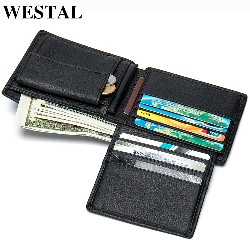 WESTAL Men Wallet Coin-Purse 100%Genuine-Leather Card-Holder for Cards/8063 Credit