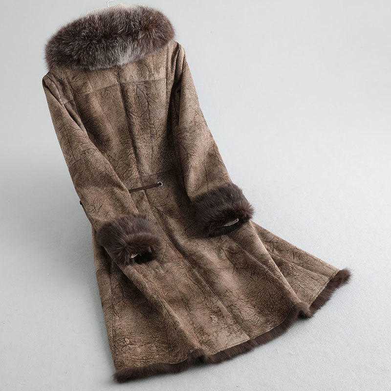 Faced Double Real Fur Coat Female Luxury Rabbit Fur Coats Winter Coat Women Fox Fur Collar Real Leather Jacket MY4256          S