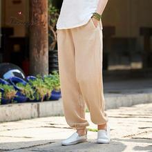 Suvance Summer Autumn Vintage Solid Color Long Pants One Size Elastic Waist Linen Women Harem