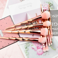 10Piece Unicorn Makeup Brush 7 Piece Rose Gold Diamond Handle Set Thread Beauty
