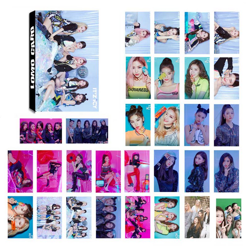 30 Pcs/Set ITZY Photocard Photo Card PVC Crystal Card Stickers For Bus Student Card Stationery Set