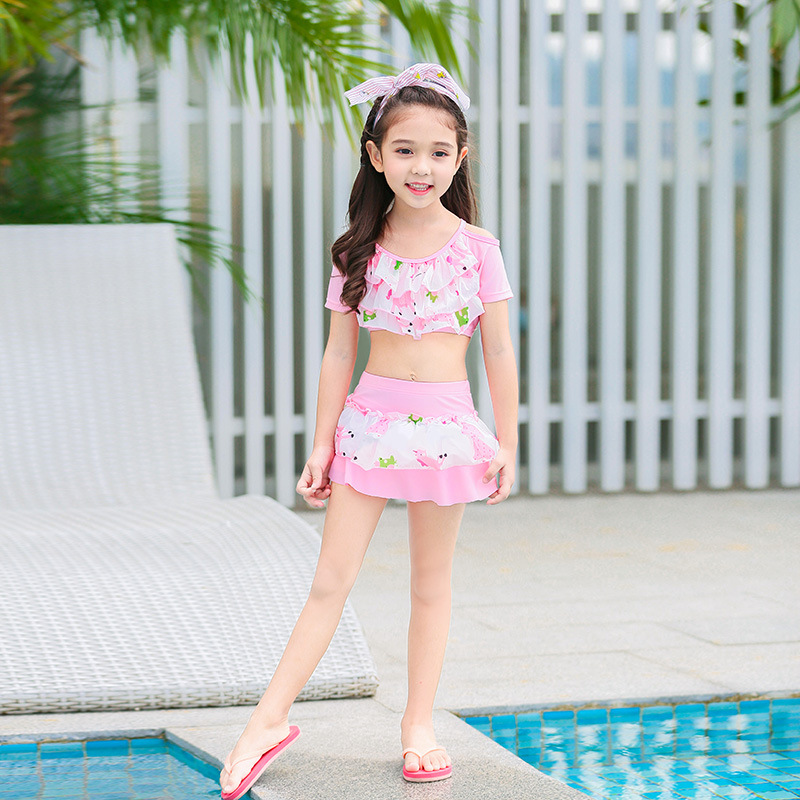 KID'S Swimwear Women's Two Piece Set Split Skirt-Large Children GIRL'S Princess Baby Girls Hot Springs Tour Bathing Suit