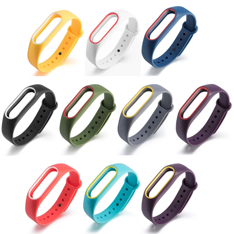 New 2 Colors Silicon Wrist Strap WristBand Bracelet Replacement For Xiaomi MI Band 2
