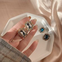 Atacado coreano vintage quadrado azul cristal brincos para mulheres meninas moda festa pendientes jóias