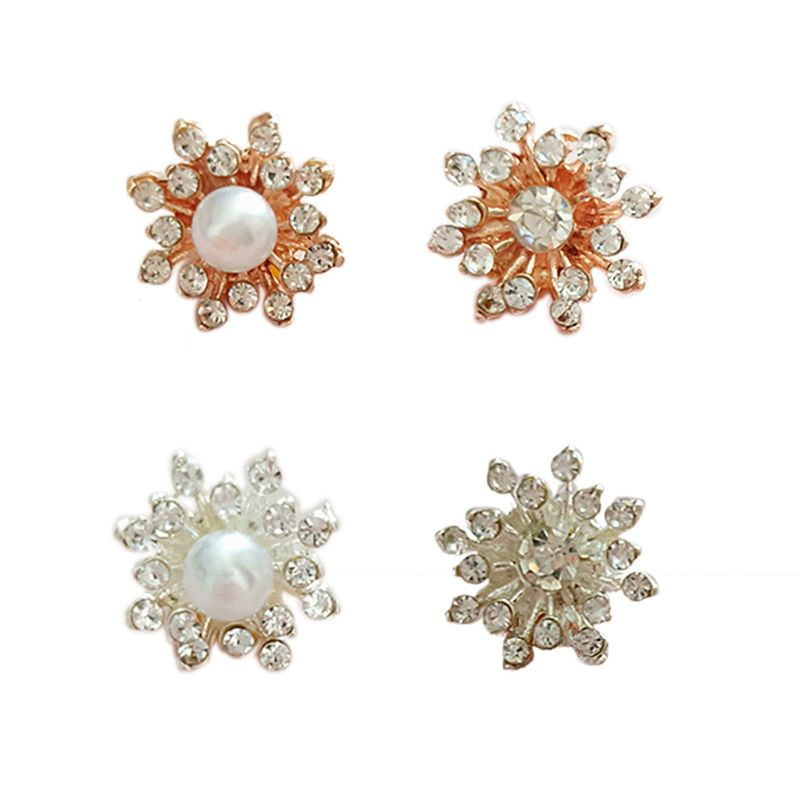10Pcs Rhinestone Faux Pearl Snowflake Buttons Flatback Plating DIY Craft Decor NEW