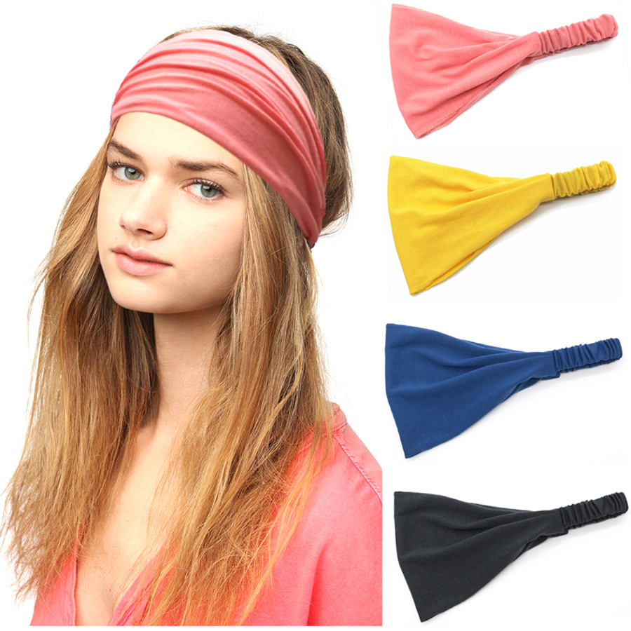 Solid Elastic Stretch Wide Hairband Women Lady Girl Yogo Running Headband Bandanas Headwear Elastic Hair Band Hair Accessories
