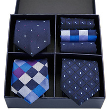 Fashion Men's 3pcs Handkerchief Tie Set Gift Box Jacquard Woven 7.5CM Ties for Men Blue Striped Luxury Necktie Formal Business new brand men ties causal jacquard woven ties for men high grade gift box sets necktie handkerchief cufflink business tie set