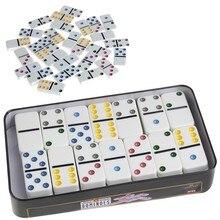 Boîte de dominos en bois, jeu de 28 doubles 6 dominos de voyage pour enfants, amusant