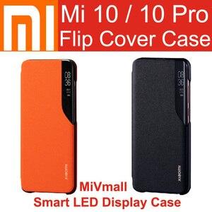 Image 1 - Xiaomi Mi 10 Pro Flip Case kapak resmi orijinal Mi 10 akıllı LED ekran durumda uyandırma yakın Mi 10 Pro Mi 10