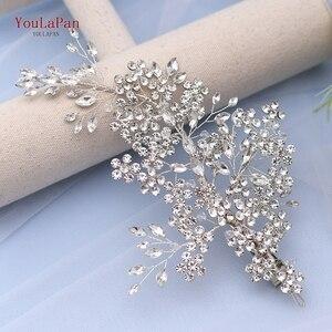 Image 5 - Роскошные свадебные украшения для волос TOPQUEEN с искусственными кристаллами, свадебные аксессуары, Свадебный зажим для волос, свадебная тиара, свадебная повязка на голову