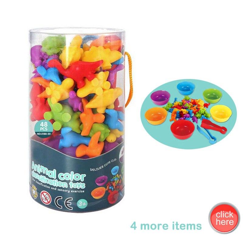 Новинка 2021, популярная обучающая игрушка для раннего развития, фигурки животных Монтессори для детей, познавательная сортировка, подсчет, х...
