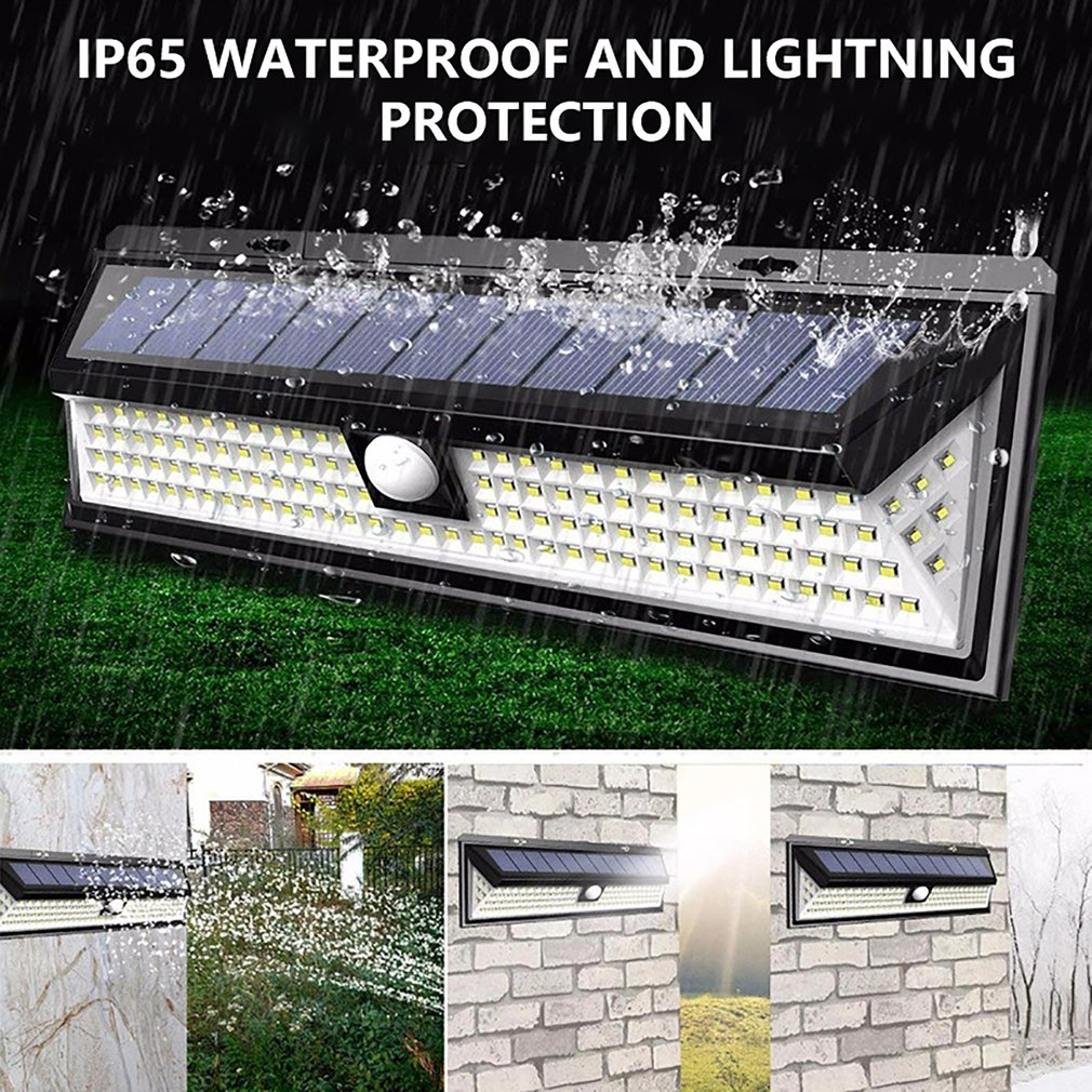 118LED Solar Lamp Outdoor Garden Waterproof PIR Motion Sensor Light Energy Saving Street Garden Lamp