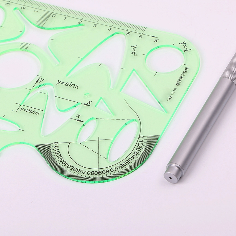 School Office Students Math Circle Measuring Drawing Template Ruler Stationery LX9A