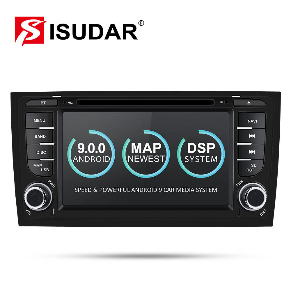 Isudar Car Multimedia Player GPS Two Din <font><b>Android</b></font> 9 DVD Automotivo For <font><b>Audi</b></font>/<font><b>A6</b></font>/S6/RS6 Radio FM Quad Cores RAM 2GB ROM 16GB DSP image