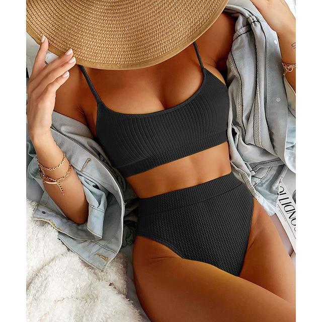 INGAGA High Waist Bikinis Swimwear Women Push Up Swimsuits Ribbed Bathing Suits High Cut Sexy Biquini 2021 Summer Beachwear 3