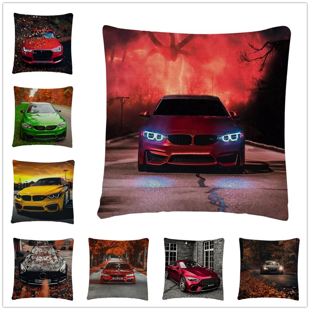 Beautiful Family Car Pattern Linen Cushion Cover Pillow Case for Home Sofa Car Decor Pillowcase 45X45cm