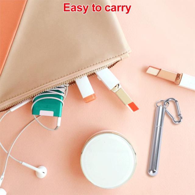 Paille réutilisable pliable en métal télescopique paille en acier inoxydable Portable avec brosse pour voyage en plein air #5
