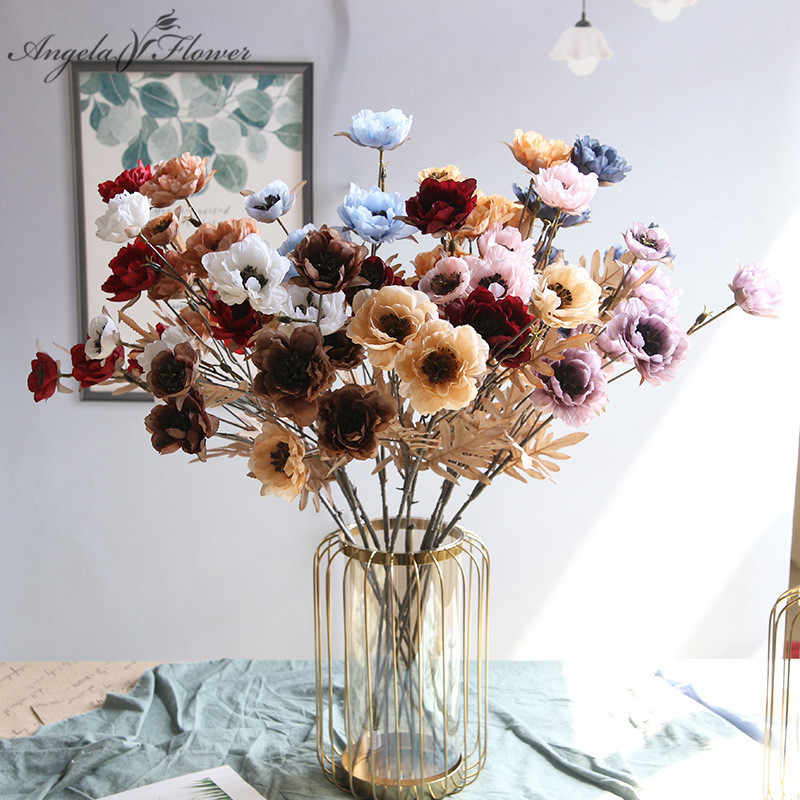 Retro Hualien Crane Artificial Peony Branch Home Decoration Silk Fake Flower Arrangement Wedding Arch Ceiling Autumn Roses Gifts Artificial Dried Flowers Aliexpress