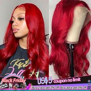 Image 1 - 13x4 dentelle avant perruques de cheveux humains 99J/bourgogne RedWine pré plumé vague de corps perruques de dentelle 150% densité brésilienne Remy perruque de cheveux KEMY
