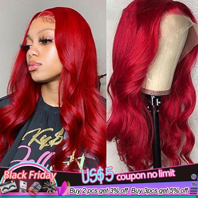 13x4 dentelle avant perruques de cheveux humains 99J/bourgogne RedWine pré plumé vague de corps perruques de dentelle 150% densité brésilienne Remy perruque de cheveux KEMY