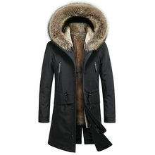 Echt Pelzmantel Männer Natürliche Kaninchen Pelz Liner Waschbären Pelz Kragen Mit Kapuze Parka Warme Parka Plus Größe Winter Mantel SP18D9636E YY702(China)