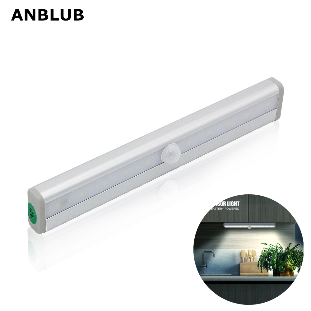 ANBLUB 10LED PIR Motion Sensor LED Lights Cupboard Wardrobe Bed Lamp Under Cabinet Night Light For Hallway Closet Stairs Kitchen
