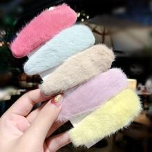 Новые зимние женские милые яркие цвета из искусственного меха мягкие заколки для волос милая повязка на голову заколки для волос модные аксессуары для волос