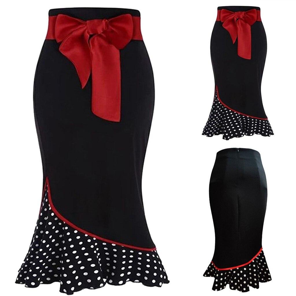Женская Праздничная Рождественская юбка с бантом и поясом, в горошек, с вышивкой, с рюшами, рыбий хвост, Повседневные Вечерние юбки, элегантная винтажная Faldas Jupe Femme Юбки      АлиЭкспресс