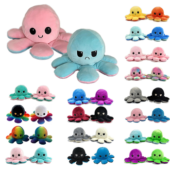 Cute Reversible octopu plush toy simulation Animals flip octopu plush Double-Sided Pulpo reversible for child Christma gift image
