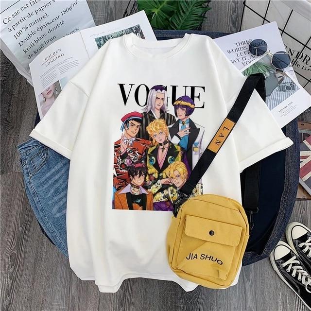 Japan Harajuku Anime JoJo Bizarre Adventure Funny T-shirts for Woman Cartoon Printed T-shirt Female Casual Cotton Tops Tee