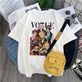 Японские смешные футболки Harajuku с аниме Джоджо невероятные приключения для женщин, футболка с мультяшным принтом, женские повседневные хлоп...