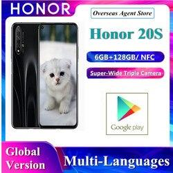 Huawei Honor 20S глобальная версия смартфона, 6 ГБ + 128 ГБ, Kirin 710, Octa Face, разблокировка, тройная камера, суперзарядка, мобильный телефон