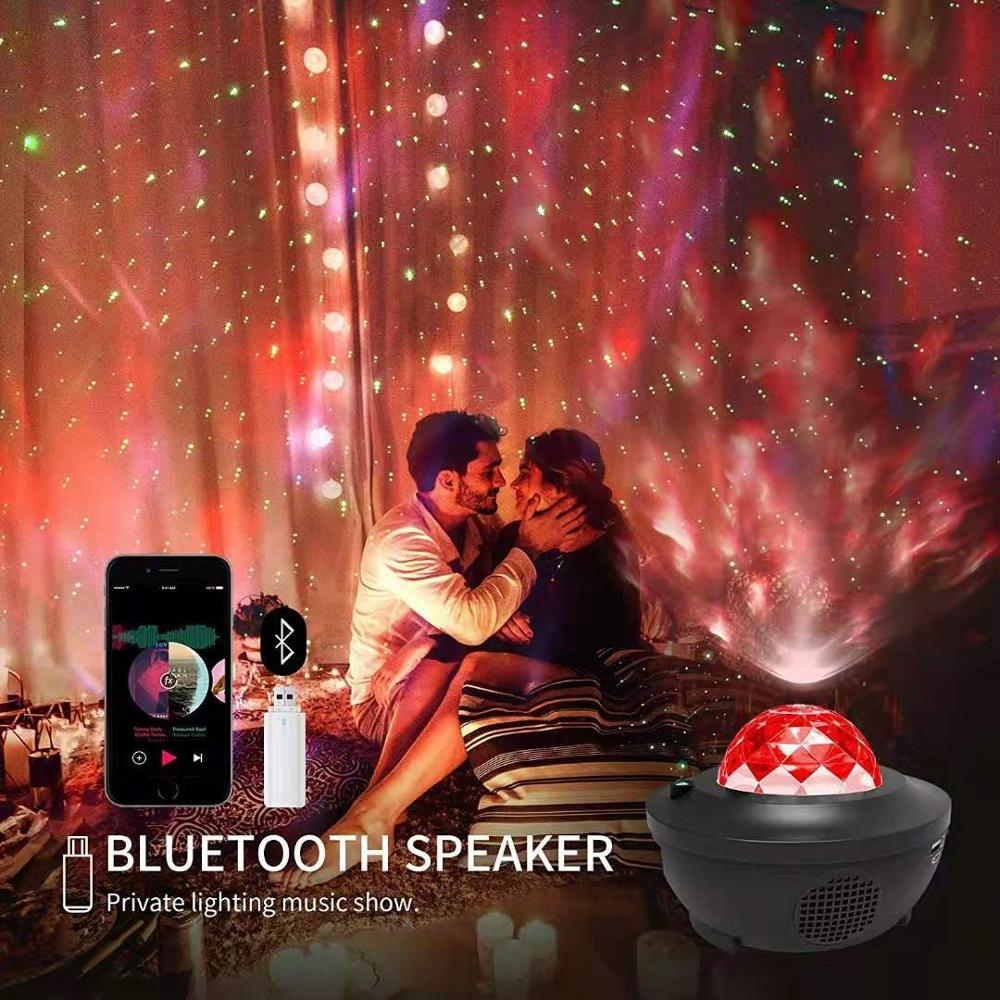 LED Galaxy Projector Ocean Wave LED Night Light Music Player Remote Star Rotating Night Light Luminaria For kid Bedroom Lamp 4