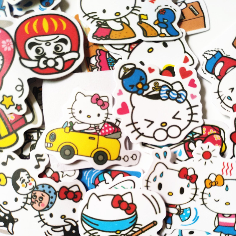 40pcs/bag Novelty Japanese Cartoon Cute Bonjour Kitty Sticker For Car Laptop Bicycle Luggage Waterproof Hallo KT Cat Stickers
