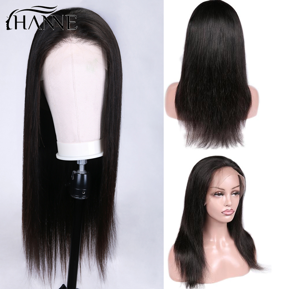 Full Lace Front Human Hair Wigs Lace Straight Human Wig For Black Women Natural Color Brazilian Remy Wigs Free Fast Ship HANNE