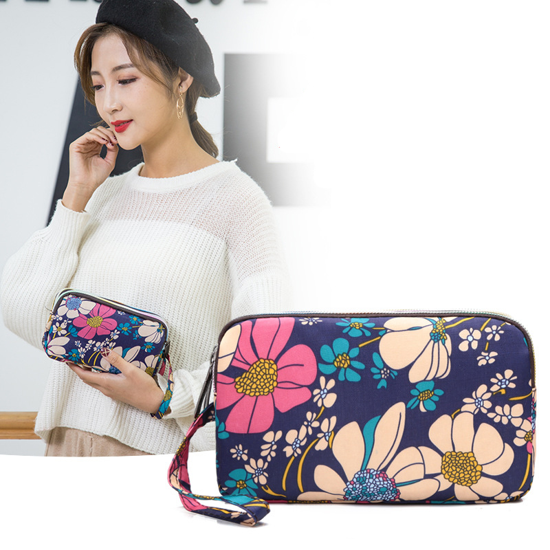 Women's Floral Print Fashion Long Purse Large Capacity Clutch Phone Bag PU Leather Ladies Coin Card Holder Wallets