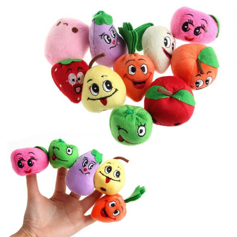 10pcs/Set Creative Fruit Vegetable Finger Puppets Storytelling Doll Kids Children Baby Educational Funny Puppets Plush Toys Gift