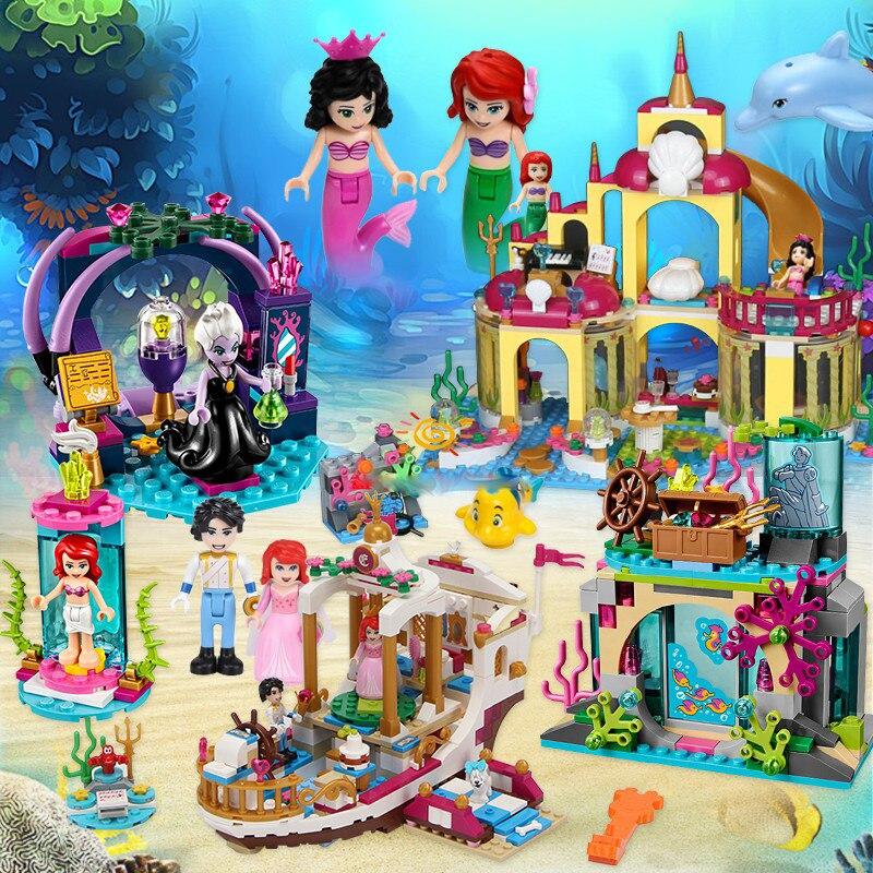 Girl Toys Mermaid-Series Movie Palace Disney Building-Block Classic 3-In-1undersea Suit