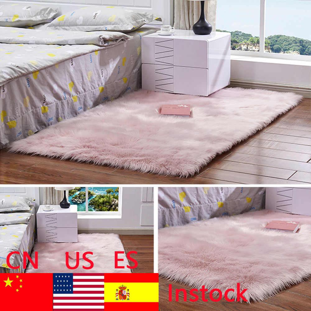 Alfombras de área de piel de oveja de imitación suaves rectangulares para piso de dormitorio alfombra de felpa sedosa alfombra blanca de piel sintética alfombras de noche