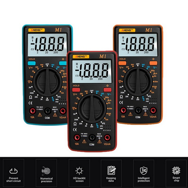 M1 Multimeter Portable LCD Digital Multimeter Backlight AC/DC Ammeter Voltmeter Ohm Tester Meter Handheld Multimeter Tester