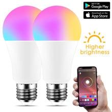 Bombilla inteligente LED inalámbrica E27, bluetooth 4.0, lámpara de iluminación para el hogar, 10 W, Magic RBG + W, cambia de color, regulable, para IOS y Android
