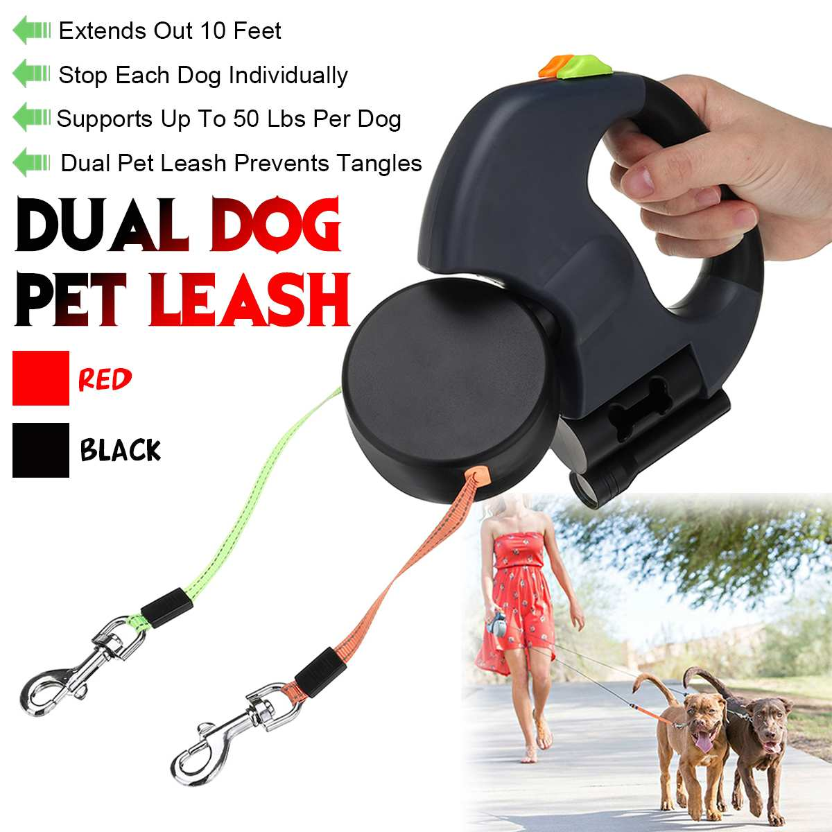 NEW Red/Black Dual Pet Dog Leash Retractable Walking Leash 300CM Length Double Leashes Pet Products Suit For 50 Lbs Per Dog