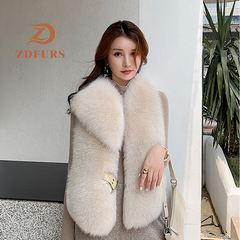 Image 4 - ZDFURS*New Arrival Natural Fur Waistcoat Plus Size Contrast Color Fashion Irregular Full Pelt Fox Fur Vest WomanReal Fur   -