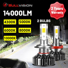 Bullvision H7 LED 전조등 전구 H4 H11 H8 H9 9005 9006 HB3 HB4 자동차 LED 전구 4300K 5000K 6000K 8000K 10000K 90W 자동 Lampada