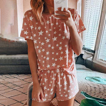 цены Summer women's Pajamas Sets Cotton short-sleeved Shorts Student Suit Can Be Worn Outside two-piece Home Clothes Printing