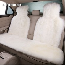 Car-Seat-Cover Universal Car AUTOROWN Sheepskin for Four-Seasons Basic-Function Natural