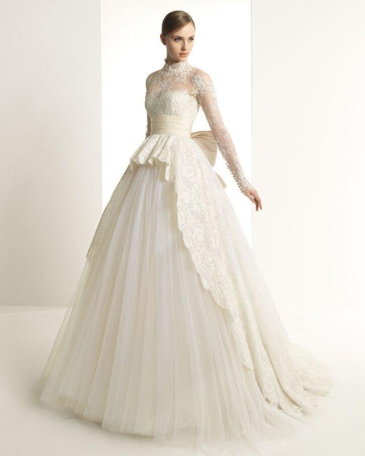 Lace Long Sleeve Abendkleider High Neck Appliques Romantic Bridal Ball Gown Vestido De Noiva 2018 Mother Of The Bride Dresses