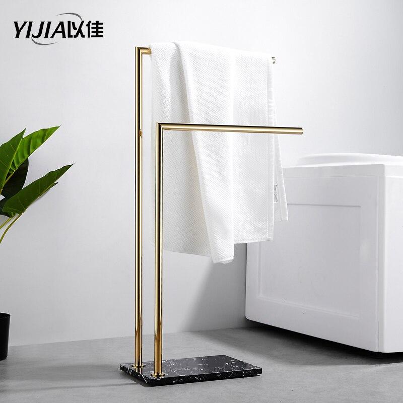 Laiton marbre sol porte-serviettes lumière luxe salle de bain doré baignoire porte-serviettes cintre