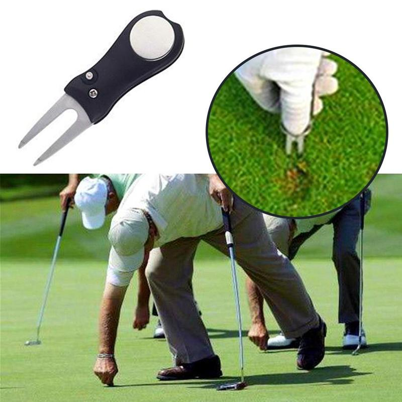 1Pc Golf Spring Fork Golf Accessories Steel Repairing Turf Tool Switchblade Pitch Groove Cleaner Golf Pitchfork With Marker